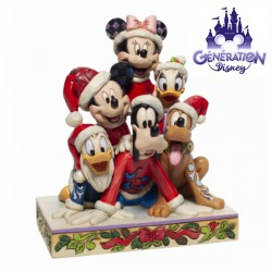 """Statue résine Mickey et ses amis à Noël """"Piled High with Holiday Cheer """" Enesco by Jim Shore 18cm"""