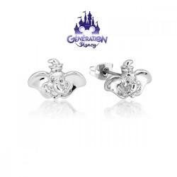 Boucles d'oreilles Dumbo plaqué or blanc et émail 14kt