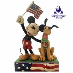 "Statuette résine Mickey et Pluto patriote ""A Banner Day"" - Jim Shore - Enesco"