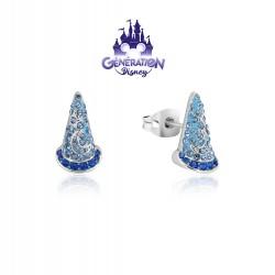 Boucles d'oreilles Fantasia Chapeau de sorcier - Plaqué or blanc 14kt et cristal