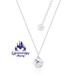 Collier Fantasia Mickey sorcier biface - Plaqué or blanc 14kt, émail et cristaux