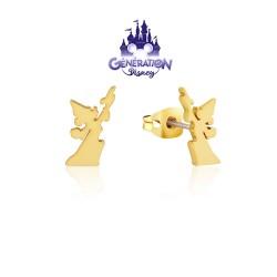 Boucles d'oreilles Fantasia Mickey sorcier silhouette - Plaqué or jaune 14kt